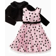 Sweet Heart Rose Kids Dress, Girls Polka Dot Dress and Faux Fur Shrug ($50) ❤ liked on Polyvore featuring baby, kids, baby stuff, kids clothing, baby girl clothes and girls
