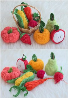 You are going to love this collection of Crochet Fruit and Vegetable Patterns and we have rounded up all our favorites for you to try. Crochet Fruit, Crochet Ball, Crochet Baby Toys, Crochet Birds, Crochet Food, Crochet Bunny, Crochet Geek, Crochet Patterns Amigurumi, Crochet Flowers
