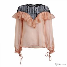 Ladies apricot and black sheer frill blouse wholesale - clothing/tops/blouses  | Moguland.com - Wholesale Women's Clothing
