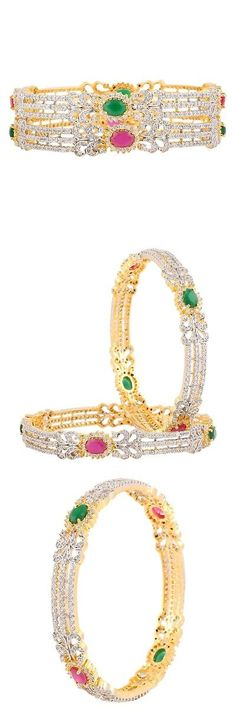 Bracelets 98509: Swasti Jewels Gold Plated Zircon Stone Fashion Jewelry Indian Bangles Set For... -> BUY IT NOW ONLY: $36.75 on eBay!