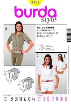 Burda 7353 - blouse bodysuits shirts tops