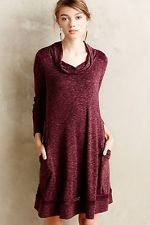 bf51a3c13af7d Anthropologie Saturday Sunday Spacedye Dress S Wine Tunic Drapey Neck Lace  Back Cotton Dresses, Swing