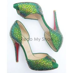 Christian Louboutin MADAME CLAUDE Crystal-Encrusted Pumps 36.5 ❤ liked on Polyvore featuring shoes, pumps, christian louboutin shoes, embellished shoes, green platform pumps, platform shoes and green platform shoes