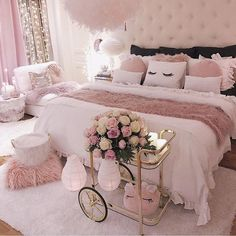Bedroom Decorating Ideas – Creative bedroom decorating with an unusual bed adds interest to your room, helps personalize your home and create unique living space. A bedroom is a coziest place… Cute Bedroom Ideas, Cute Room Decor, Girl Bedroom Designs, Awesome Bedrooms, Girls Bedroom, Bed Designs, Bedroom Inspiration, Rich Girl Bedroom, Pink Bedroom Design