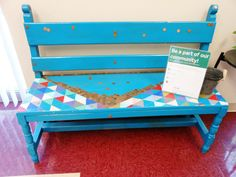 Awesome idea for businesses and centers to help engage the #community: A penny #bench. Participants glue on a penny until it's covered. #DIY #art. This one started at the Trellis #GoodNeighbor Initiative