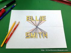 """1-Point Perspective, Lesson One - As an introduction to 1-point perspective, I've taught my 4th and 5th graders how to create """"exploding names.""""  After students complete this project, we move on to drawing a room in perspective."""