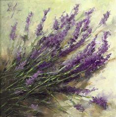 Linda's Witness in Art: Lavender Sprigs Farm Cut 6x6 oil Sold