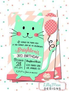 Cat Birthday Party Invitation Kitty Invitation by LillyMaeDesigns