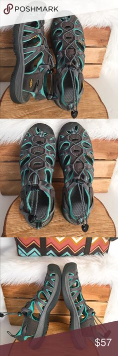 KEEN Women's Whisper Outdoor Water Hiking Sandals The perfect warm weather partner, the Whisper water shoe features a sleek, soft design for maximum comfort.  Details: Women-specific fit.  With a women-specific fit, this shoe delivers exceptional protection and durability.  Metatomical EVA-molded footbed.  Compression-molded EVA midsole.  TPU midsole shank.  Multi-directional lug pattern.  Non-marking rubber outsole. In great condition! Minimal use. Keen Shoes Sandals
