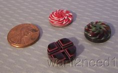 60s VTG Authentic LEA Stein Buttons LOT 3 Carved Layered plastic - awesome buttons!