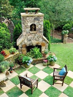 Gorgeous outdoor space, cool checkered patio