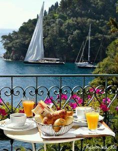 Breakfast on the terrace at hidden gem Domina Piccolo in Portofino.