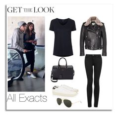 """Eleanor Calder and Louis Tomlinson at LAX airport"" by lifeisworthlivingagain ❤ liked on Polyvore featuring Topshop, Yves Saint Laurent, Acne Studios and Ray-Ban"