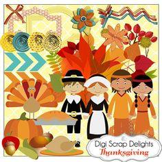 Thanksgiving Scrapbook Kit w Turkey Pilgrim by DigiScrapDelights  #scrapbooking #digital #autumn #fall #pumpkins #thanksgiving #digiscrapdelights