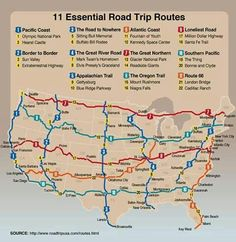 Essential road trip routes from roadtrip usa.definitely on the bucket list Vacation Places, Vacation Trips, Dream Vacations, Places To Travel, Vacation Ideas, Travel Things, Summer Vacations, Travel Stuff, Summer Road Trips