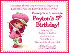 Strawberry Shortcake Birthday Invitations #4