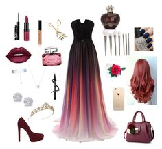 A fashion look from January 2017 featuring long formal evening gowns, heels stilettos and pom pom bag. Browse and shop related looks. Links Of London, Effy Jewelry, Rimmel, Opi, Aldo, Lime Crime, Bobbi Brown, Christian Dior, Gucci