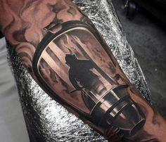 Man With Half Sleeve Mask Firefighter Tattoos Bad Tattoos, Best Sleeve Tattoos, Great Tattoos, Body Art Tattoos, Tattoos For Guys, Tattoo Sleeves, Turtle Tattoos, Tatoos, Silhouette Tattoos