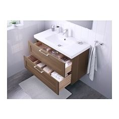 IKEA - GODMORGON / ODENSVIK, Wash-stand with 2 drawers, walnut effect, , 10 year guarantee. Read about the terms in the guarantee brochure.Smooth-running and soft-closing drawers with pull-out stop.Drawers made of solid wood, with bottom in scratch-resistant melamine.You can easily customise the size of the drawer by moving the divider.You can easily see and reach your things because the drawers pull out fully.The included water trap is easy to connect to the drain, washing machine and…