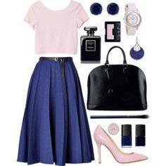 紺色のスカートコーディネート
