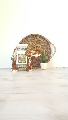Your place to buy and sell all things handmade Elephant Plant, Elephant Home Decor, Ceramic Elephant, Vintage Elephant, Garden Stand, Wicker, Display, Ceramics, Plants