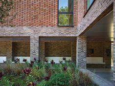 Coffey Architects creates brick-clad retirement housing on derelict industrial laundry site (Dezeen Architecture Courtyard, Timber Architecture, Industrial Architecture, Brick Courtyard, Internal Courtyard, Courtyard House, Architectural Pattern, Brick Construction, Brick Detail