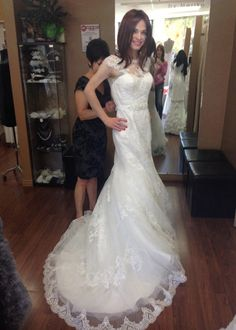 Alicia Campos | I got to try on a wedding dress just for fun :)  Never give up the dream.