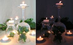 upside down wine glass votive holder- I don't like this example but love the idea