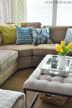 Festive Home Decor pillow combination lime, aqua, navy