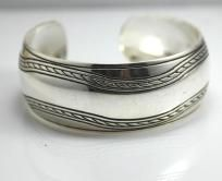 Silver Plated Cuff Bracelet Wave Design Free Shipping