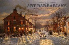 City Sidewalks, Busy Sidewalks - Christmas By Dave Barnhouse