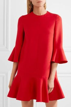 Red wool and silk-blend Concealed hook and zip fastening at back 65% wool, 35% silk; lining: 100% silk Dry clean Made in Italy
