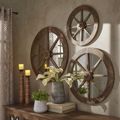 Moravia Round Reclaimed Wood Wagon Wheel Wall Mirror by Signal Hills (36 Diameter), Brown