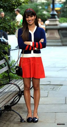 Lea Michele as Rachel Berry... She matches the Warblers in this outfit!