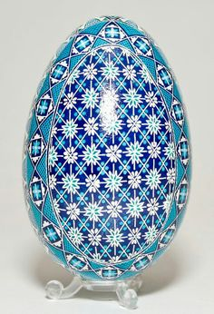 Blue Quilt Egg - front view