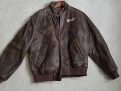 af893f8e5a7 Context Men s Brown Leather Soft Pliable Jacket 24 SWAT On Front Size Small   Context  BasicJacket