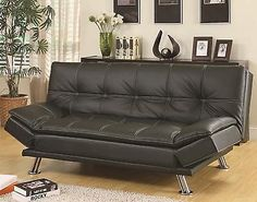 Futons Frames And Covers 131579 Coaster 300281 Futon Sleeper Sofa Bed In Black Faux Leather