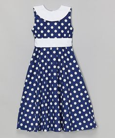 Another great find on #zulily! Navy & White Polka Dot A-Line Dress - Toddler & Girls by Petit Pomme #zulilyfinds
