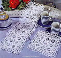 Crochet Art: Doilies - White Crochet Doilies - Cotton: Table runners and place mat with diagram pattern