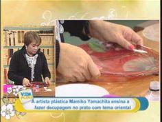 Artesanato: decupagem em prato com tema oriental
