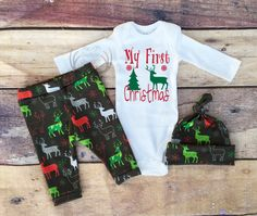 Boys Christmas Outfit,My First Christmas,Boys Deer Outfit,Newborn, Boy Coming Home Outfit,Reindeer,Red,Green,Gray,White,Boys Country Outfits by TheSouthernCloset101 on Etsy https://www.etsy.com/listing/473714787/boys-christmas-outfitmy-first