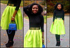 Neon Skirt Outfit: Fashion a La mode Link Up. - Lisa a la modeLisa a la mode