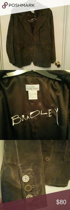 Bradley Bayou leather blazer Dark chocolate brown, distressed look, fully lined, leather blazer.  Like new Bradley by Bradley Bayou. Bradley Bayou  Jackets & Coats Blazers