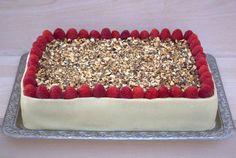 Lagkage m/choko-nougatcreme m/crunch og hvid chokolade/hindbærmousse