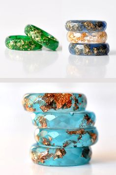 Blue Resin Ring With Copper Flakes  Thin Faceted Band - $24. #LetsCurate