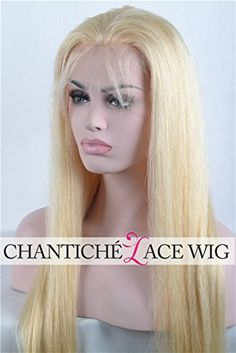 Chantiche 7a Virgin Brazilian Blonde Silk Straight Lace Front Wigs for White Women 100% Remy Human Hair Glueless Wigs Transparent Lace Color 120 Density Medium Size Cap 16 Inches