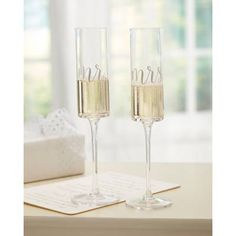 Mud Pie Mr. and Mrs. Champagne Glass Set d7f5806b3