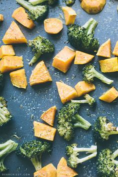 Roasted Broccoli and Sweet Potatoes | http://dearcrissy.com