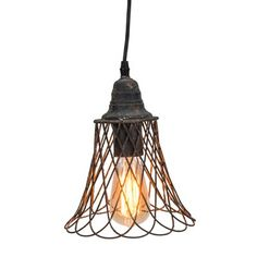 Edison Light Bulb~  i've got plenty of ceiling bell caps could likely do the light but that basket! I love it~ All my lamp frames are too big for something like this... metal baskets are too well baskety shaped...   might need to get the welder out with some old coat hangers??