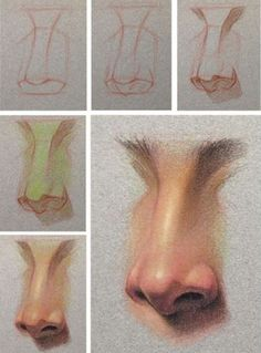 Drawing nose in three quarter view. Nose Drawing, Painting & Drawing, Pastel Drawing, Art Sketches, Art Drawings, Art Du Croquis, Arte Sketchbook, Pastel Portraits, Anatomy Drawing